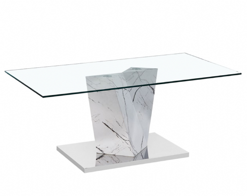 Lamp Table AXE 160 Marble Effect  (White) By Denelli (1)